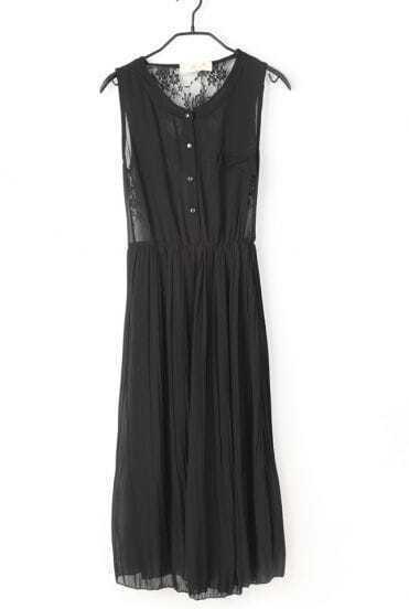 Black Vintage Round Neck Patchwork Lace Sleeveless Dress