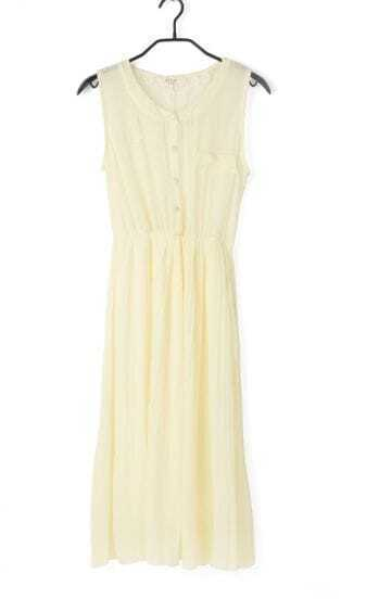 Light Yellow Vintage Round Neck Patchwork Lace Sleeveless Dress