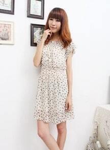 Apricot Cat Print Round Neck Short Sleeve Chiffon Dress