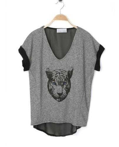 Grey Cheetah Face V Neck Contrast Chiffon Back Dipped Hem T Shirt