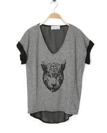 Grey Cheetah Face V Neck Contrast Chiffon Back Dipped Hem T Shirt