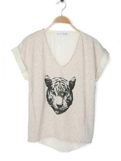 Beige Cheetah Face V Neck Contrast Chiffon Back Dipped Hem T Shirt