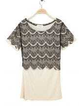 Nude T Shirt with Black Lace Flower Embellished