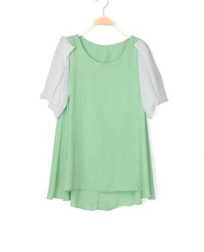 Green Contrast Puff Short Sleeve Chiffon Tunic Blouse