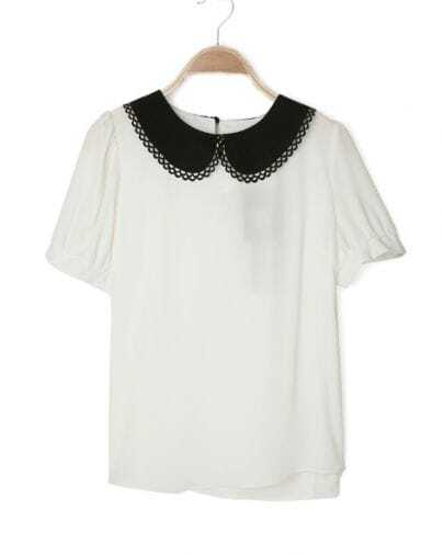 White Contrast Collar Short Sleeve Slit Button Back Blouse