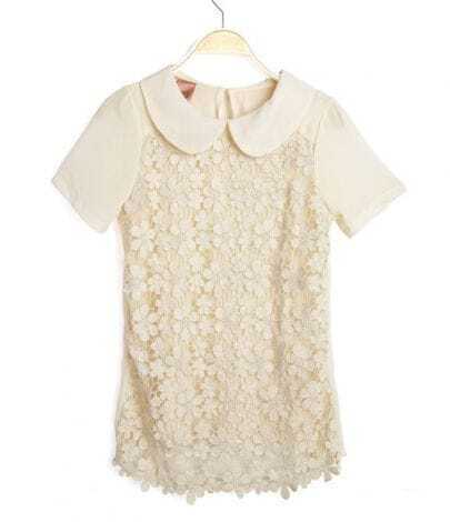 White Crochet Floral Lace Front Short Sleeve Chiffon Blouse