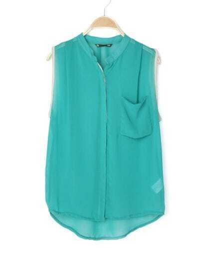 Turquoise Band Collar Pocket Sleeveless Chiffon Dip Back Blouse