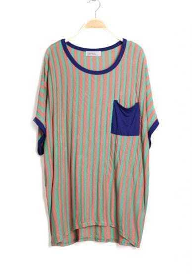 Striped Pocket Round Neck Short Bat Sleeve Shirt