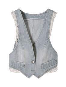 Blue Lace Trims Bleached Denim Bow Back Waistcoat