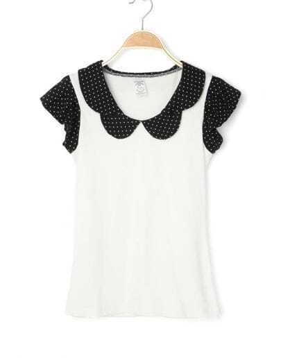 White Contrast Polka Dot Petal Collar Cap Sleeve Cotton Blouse