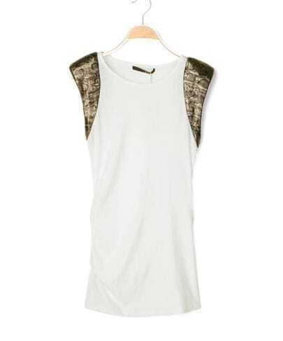 White Sleeveless Snakeskin Pad Shoulder Ruched Side Shirt