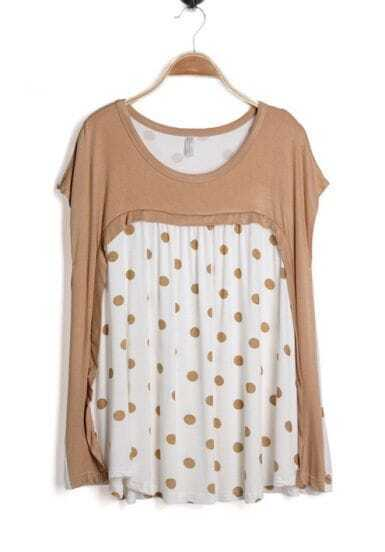 Light Coffee Polka Dot Back Batwing Sleeve Blouse