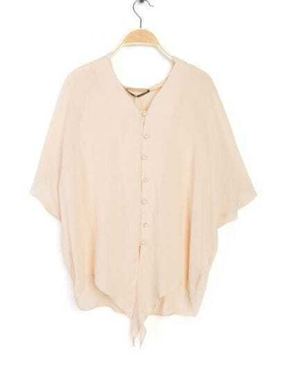 Pink V Neck Short Batwing Sleeve Front Tie Blouse
