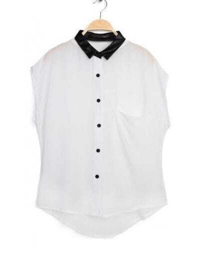 White Sleeveless Contast Leather Collar Chiffon Shirt