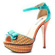 Orange Patent Leather Multicolor Plaid 130mm Sandals