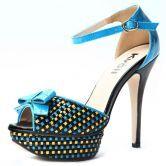 Black Patent Leather Multicolor Plaid 131mm Sandals