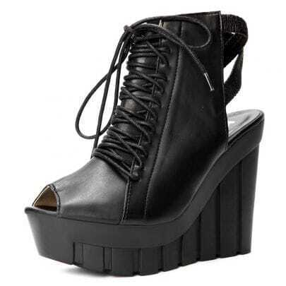 Black PU Lace Up 125mm Wedges