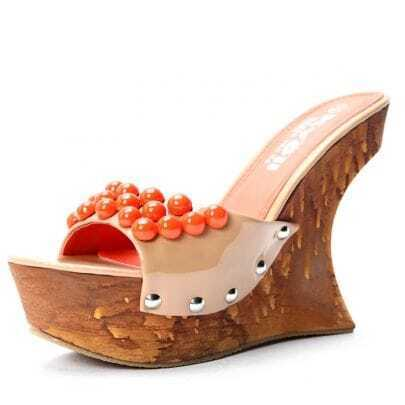 Apricot Patent Leather Pearl 130mm Wedges