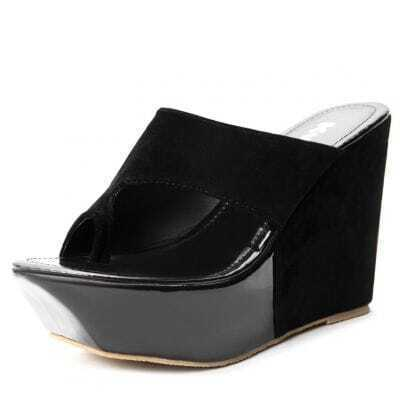 Black Woolen 115mm Wedges