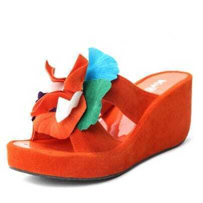 Orange Woolen Solid Flower 70mm Wedges