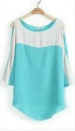 Blue Split Sleeve Boat Neck Curved Hem Blouse