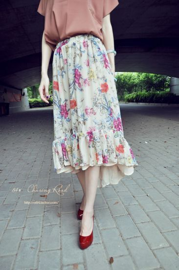 Apricot Floral Print Low High Full Length Skirt