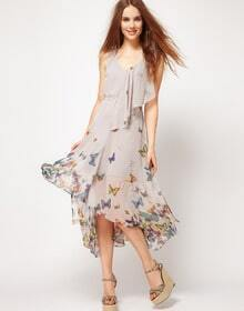 Butterfly Printed Ruffle V Neck Sleeveless Dress