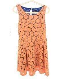Pink Eyelet Round Neck Sleeveless Slim Lace Dress