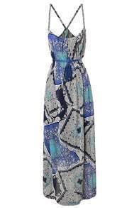 Bohemia Blue Printed Spaghetti Strap Slim Long Dress