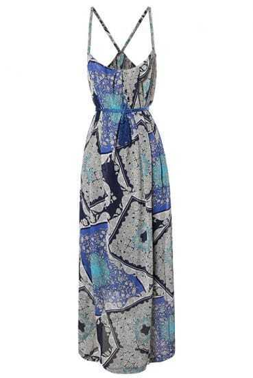 Bohemia Blue Printed Spaghetti Strap Slim Long Dress