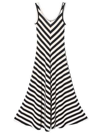 Beige And Black Striped Round Neck Sleeveless Slim Dress