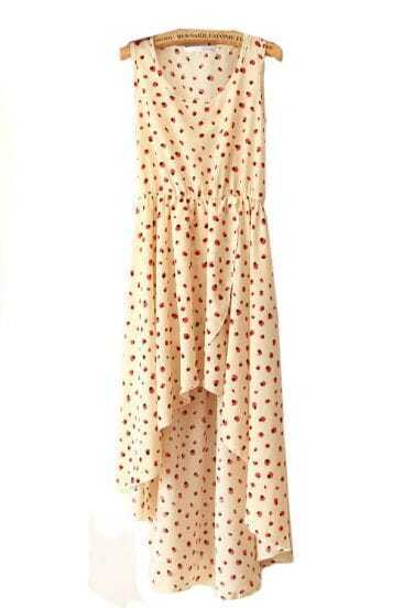 Beige Printed Round Neck Sleeveless Irregular Dress