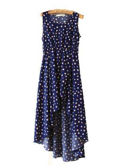 Dark Blue Printed Round Neck Sleeveless Irregular Dress