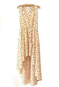 Beige Printed Round Neck Sleeveless Irregular Dress