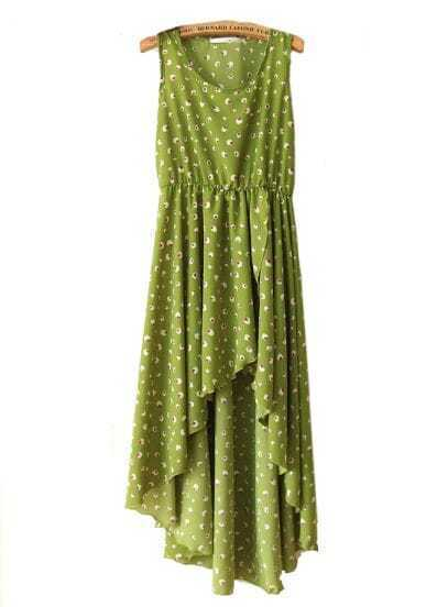 Green Printed Round Neck Sleeveless Irregular Dress