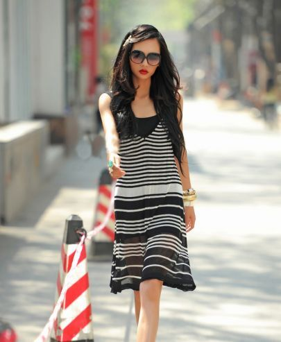 Black And White Striped Spaghetti Strap Dress