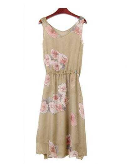 Flowers Printed Beige Round Neck Sleeveless Dress