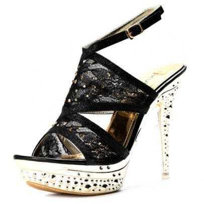 Black Lace 130mm Sandals