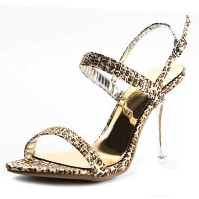 Golden Rhinestone Leopard 105mm Sandals