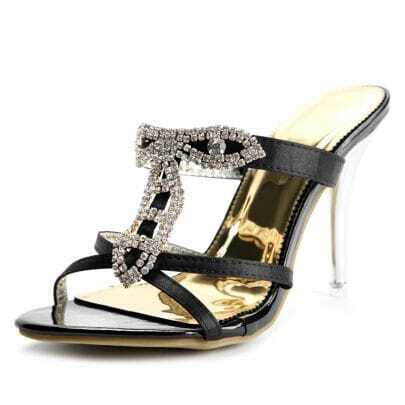 Black Rhinestone 105mm Sandals