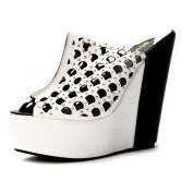 White PU Plaid Hollow 150mm Wedges