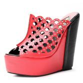 Red PU Plaid Hollow 150mm Wedges
