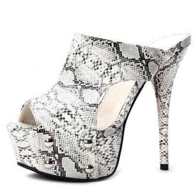 White Sanke Pattern PU 145mm Sandals