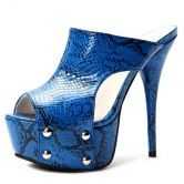 Blue Sanke Pattern PU 145mm Sandals