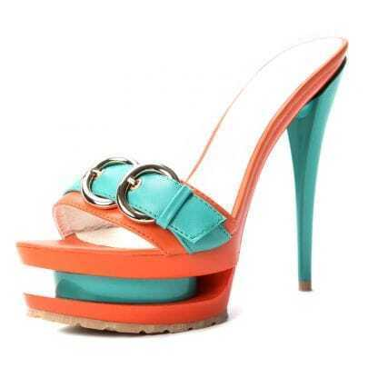 Orange PU Belt Buckle 145mm Sandals