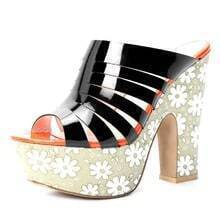 Black Patent Leather Flowers Printed 140mm Sandals