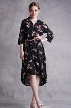 Black Birds Print High Waist Half Sleeve Slim Dress