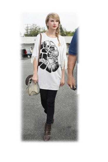 White Asymmetric Tassel Half Sleeve Cotton Eagle Print T-shirt