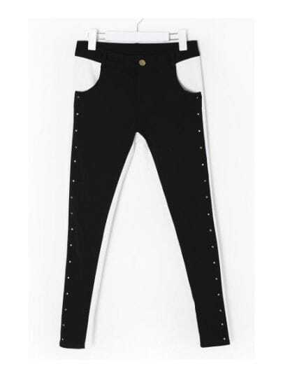 Black And White Color Block Mid Waist Skinny Pant