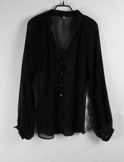 Black Balloon Sleeve V-neck Chiffon Sheer Shirt
